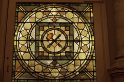 Stained glass at the Masonic Temple. In Philadelphia with masonic symbols. Nov. 22, 2015 royalty free stock image