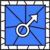 Stained glass: men symbol Royalty Free Stock Photos