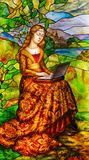 Stained glass. Modern beauty. Lady in dress with computer. Green glade, Palace in the background royalty free stock photos