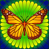 Stained glass monarch. Monarch butterfly on flower in stained glass style Royalty Free Stock Image