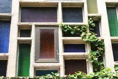 Stained glass windows in Santuari de Lluc, Majorca. Stained glass windows in the Monastery Santuari de Lluc, mallorca, Spain Stock Image