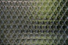 Stained Glass.Mosaic of round green glasses or bottles. Mosaic of round green glasses or bottles royalty free stock images