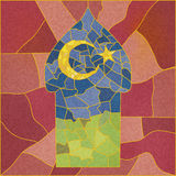 Stained-glass mosque in colors. Oriental designed art for Ramadan. Vector Stock Photos