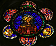 Stained Glass of Mother Mary in the Cathedral of Leon, Spain Stock Image