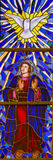 Stained Glass of Mother Mary and the Holy Spirit in Madrid Cathe Stock Photo