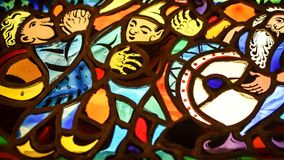 Stained Glass Musicians - Drummer, Banjo, Horn Stock Images