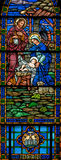 Stained Glass Nativity. Panorama of stained glass window, in 19th century (St. Mary's built 1875 - 1899) church, of baby Jesus, Mary, and Joseph in the manger Royalty Free Stock Photography