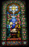 Stained Glass Nativity Baby Jesus Mary Joseph Monestir Monastery. Of Montserrat, Barcelona, Catalonia, Spain.  Founded in the 9th century, destroyed in 1811 Stock Photos