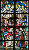 Stained Glass - Nativity Scene at Christmas Stock Photography