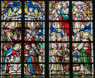 Stained Glass - Nativity Scene at Christmas Royalty Free Stock Image