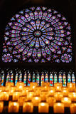 Stained glass in Notre Dame Stock Photo
