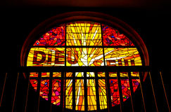 Stained-Glass of Notre Dame des Passes Church, Le Moulleau, Arcachon, Aquitaine, France Royalty Free Stock Photo