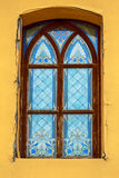 Stained glass old window of Palanok Castle in Royalty Free Stock Image