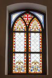 Stained glass old window of Palanok Castle in Royalty Free Stock Images