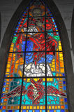 Stained glass in Osorno Cathedral. OSORNO, CHILE - JUNE 21, 2016: Stained glass depicting an angel in the Catholic Cathedral, San Mateo Apostol in Osorno, Chile royalty free stock images