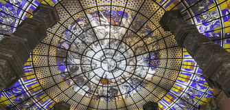 Stained Glass Painting. Decorates dome ceiling of Erawan Museum, supported by four pewter pillars Royalty Free Stock Images