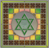 Stained glass panel with Star of David and menorah Royalty Free Stock Photography