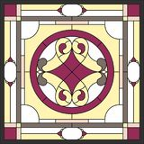 Stained glass panels for window. Abstract Flower in square frame. Abstract Flower in square frame, geometric seamless background, window on the ceiling in square Royalty Free Stock Photos