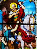 Stained Glass in Paris - St Martin of Tours stock image
