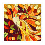 Stained glass pattern. With fire-bird sitting on a branch with rejuvenating apples Stock Photography