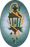 Stained glass pattern of old brown lantern with green leaves and oval background vector illustration