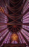 Stained glass pattern in Sainte Chapelle in Paris. Stock Photo