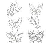Stained glass patterns. Different types of butterfly, elements for stained glass Stock Photos