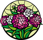 Stained-glass peonies. A bouquet of peonies looks like a stained-glass window Royalty Free Stock Photo