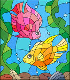 Stained glass picture of aquarium fishes on the background of water and algae Royalty Free Stock Images