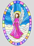Stained glass picture in oval frame with angels Stock Photography