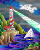 Stained glass picture of the seascape, lighthouse and sailboat royalty free illustration