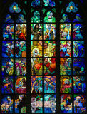 Stained Glass in Prague Cathedral by Alphonse Mucha Royalty Free Stock Photography