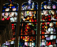 Stained Glass - Priests celebrating Mass. Stained Glass in the Church of Tervuren, Belgium, depicting Priests celebrating Holy Mass stock images