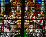 Stained Glass - Rabbis worshipping God Royalty Free Stock Photos