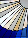 Stained glass rays. Image of a portion of a stained glass window at the Louisiana State Capitol in Baton Rouge Royalty Free Stock Photo