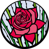 Stained-glass rose. Red rose looks like a stained-glass window Royalty Free Stock Photos