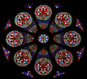 Stained glass rose window. A beautiful stained glass rose window Royalty Free Stock Photo