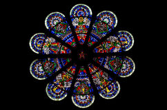 Stained glass rose window Stock Photos