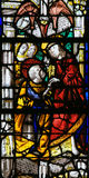 Stained Glass in Rouen Cathedral - Jesus and Saint Peter Royalty Free Stock Photo