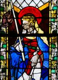 Stained Glass in Rouen Cathedral - Saint Genevieve Royalty Free Stock Images