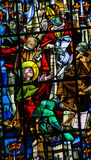 Stained Glass in Rouen Cathedral - Trial of Joan of Arc. Stained glass in the cathedral of Rouen, France, depicting the Trial of Joan of Arc Stock Photos