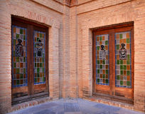 Stained glass in Royal Monastery El Puig, Spain Royalty Free Stock Photography