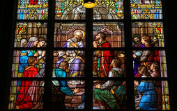 Stained Glass of The Sacrament of Confession in Den Bosch Cathed Royalty Free Stock Photos
