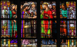 Stained Glass of the Sacrament of Marriage Royalty Free Stock Photo