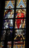 Stained Glass of Sacred Heart of Jesus in Den Bosch Cathedral Royalty Free Stock Photos