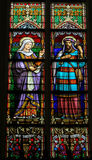 Stained Glass of Saint Ana and Saint Joachim in Den Bosch Cathed Royalty Free Stock Photo