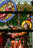 Stained Glass - Saint Anthony of Padua and the Infant Jesus. Stained Glass window depicting Saint Anthony of Padua and the Infant Jesus in the Cathedral of Saint Stock Photo