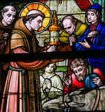Stained Glass - Saint Anthony of Padua Royalty Free Stock Photography
