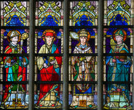 Stained Glass - Saint Augustine, Jerome, Gregory and Ambrose Royalty Free Stock Photography
