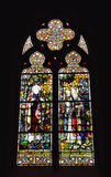 Stained glass in Saint Barbara Church in Brussels Stock Image